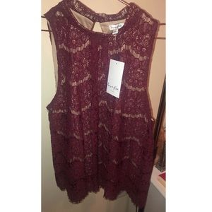 Burgundy lace crop top blouse